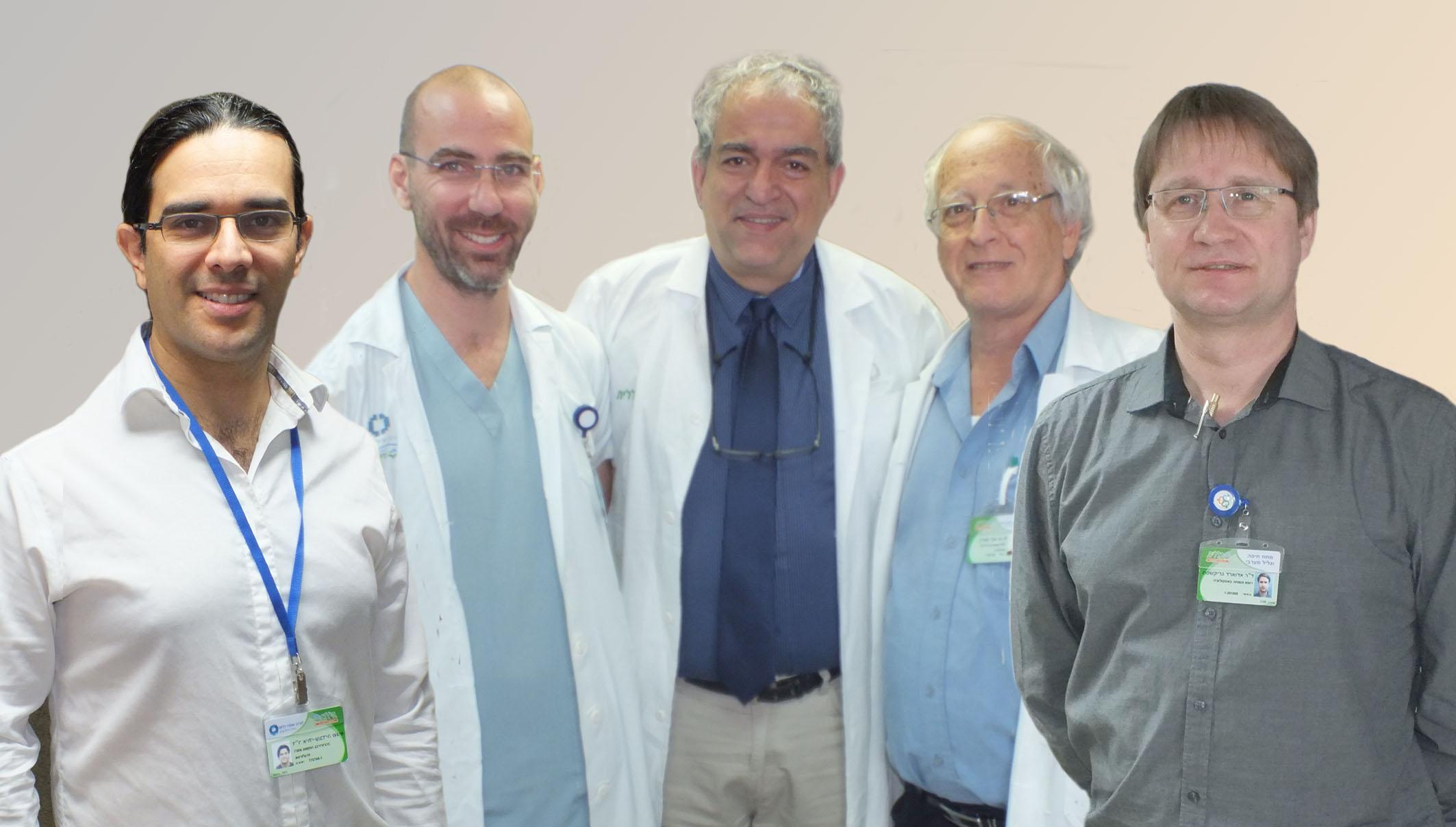 """ד""""ר יורם דקל ורופאי המרפאה האורו-אונקולוגית (צילום: אלי דדון)"""