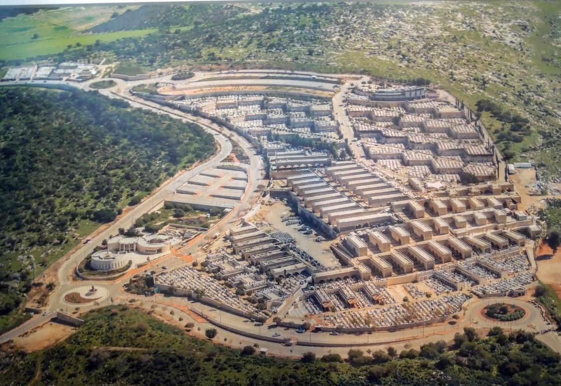 """תצלום אווירי של בית הקברות תל רגב (צילום: יח""""צ)"""