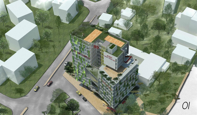 ההצעה הזוכה לבניין המעונות (הדמיה: אלי קרמר, שירי מוטס לוין) ו–FAB314AW