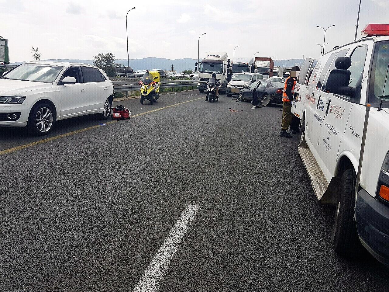 """זירת התאונה (צילום: דוברות מד""""א כרמל)"""
