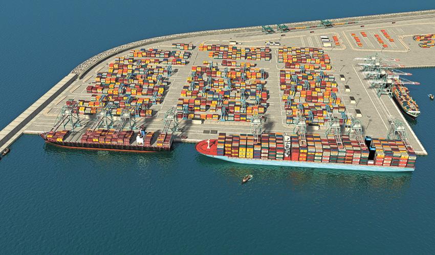 נמל המפרץ (הדמיה: סטודיו HUE 3D עבור חברת נמלי ישראל)
