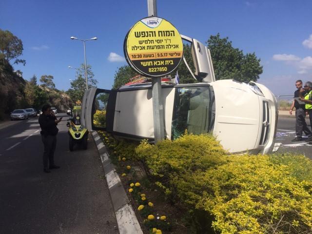 """תאונה ברחוב גאולה (צילום: דוברות מד""""א כרמל)"""