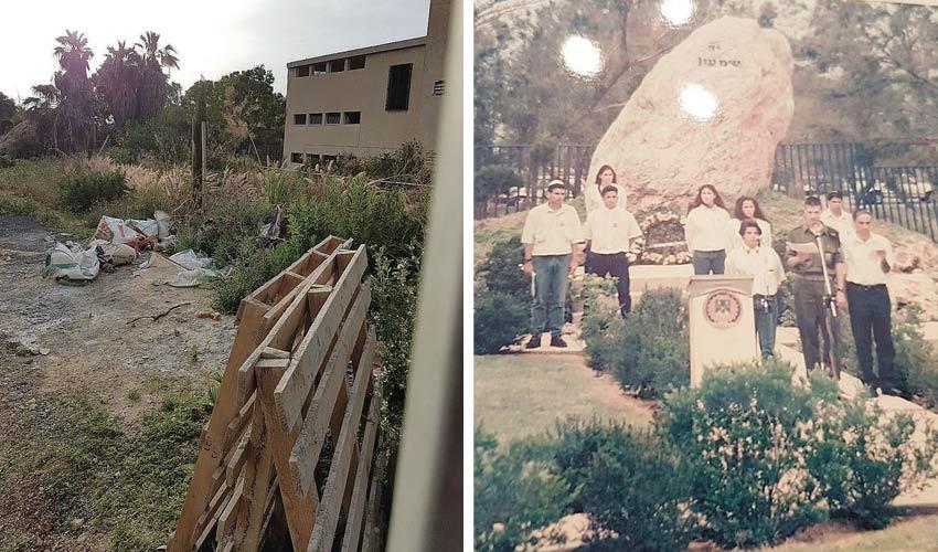 """האנדרטה בבית הספר שו""""ב, אז והיום (צילומים: אלבום משפחתי, שושי בריל)"""