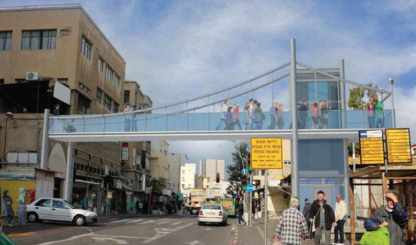 הגשר מעל לרחוב החלוץ (הדמיה: משרד תמיר אדריכלים)