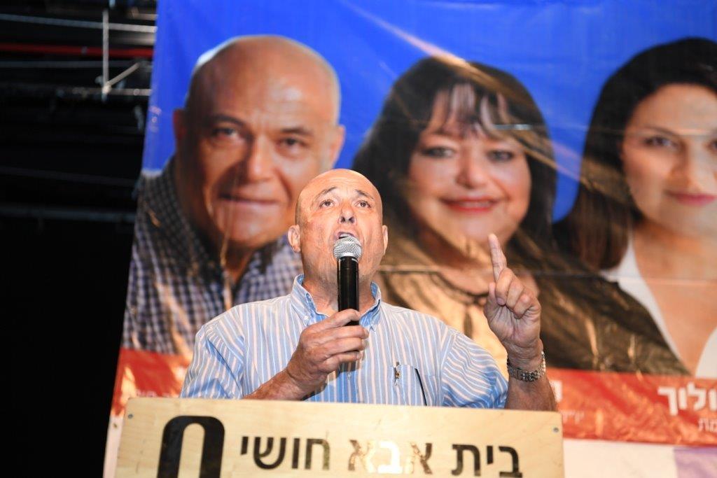 משה מזרחי בכנס עוגנים בבית אבא חושי (צילום: מטה עוגנים בחיפה)