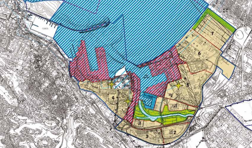 תשריט התוכנית - בשטח הצבוע בצהוב תותר הקמת מפעלים מזהמים (מתוך מסמכי התוכנית)