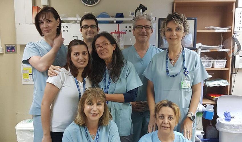 צוות מכון הגסטרואנטרולוגיה בקריית הבריאות זבולון (צילום: דוברות שירותי בריאות כללית)