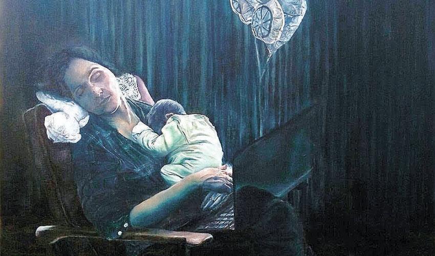 אשה סחוטה עם תינוק בן יומו (ציור: דורון וולף)