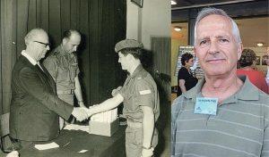 מאיר גור לוחץ את ידו של המנהל יצחק שפירא והיום (צילומים: ארכיון, שושן מנולה)