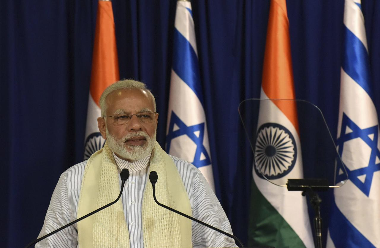 ראש ממשלת הודו נרנדרה מודי בישראל (צילום: AP)