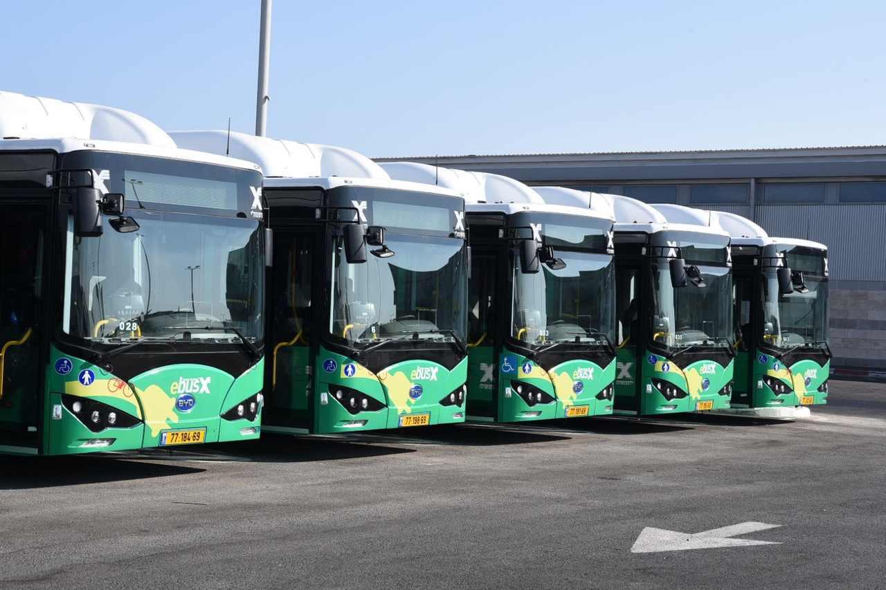 צי האוטובוסים החשמליים החדש (צילום: הקרן הקיימת לישראל)