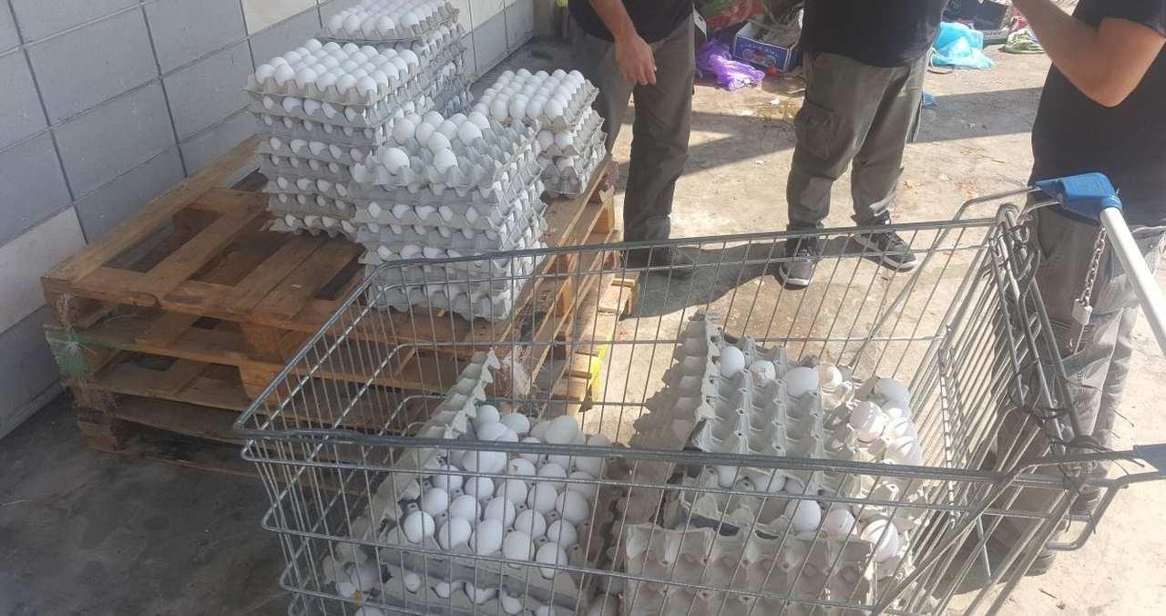 הביצים שנתפסו בשוק בקרית אתא (צילום: דוברות המשטרה)