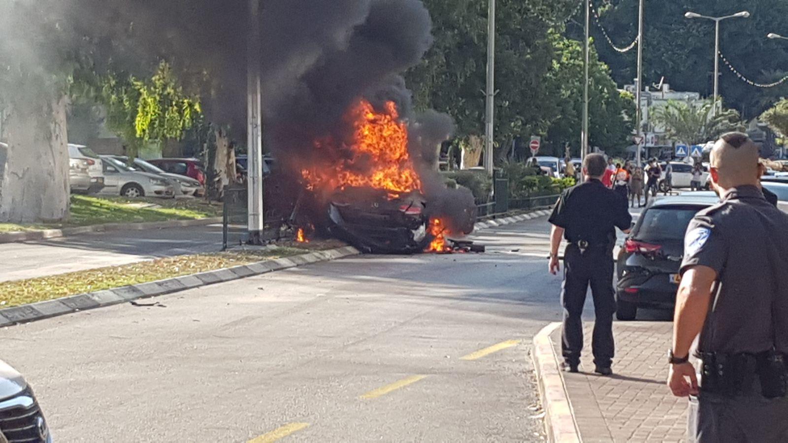"""פיצוץ המכונית בנשר (צילום: תיעוד מבצעי מד""""א)"""