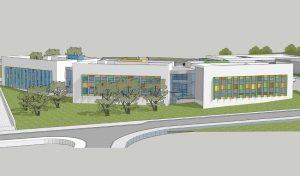 החזית הדרומית של בית הספר היסודי ברמת הנשיא (הדמיה: משרד אילן צבי אדריכלים)