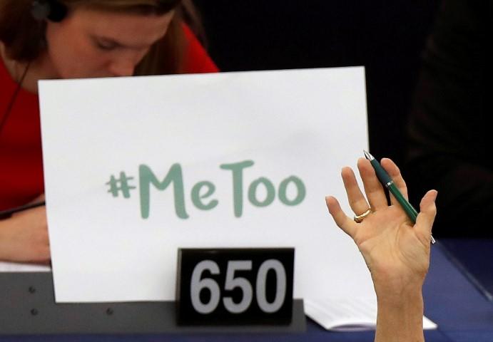 קמפיין #metoo בפרלמנט האירופי (צילום: רויטרס)