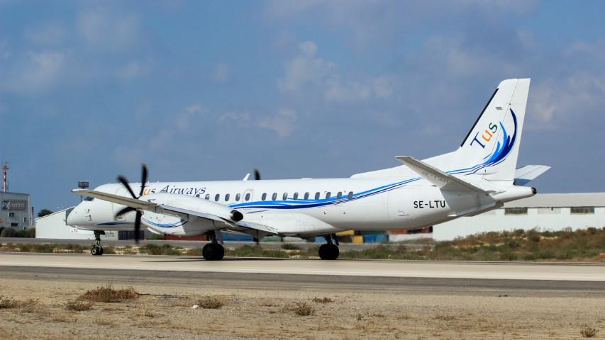 """מטוס של חברת TUS בחיפה (צילום: יח""""צ)"""