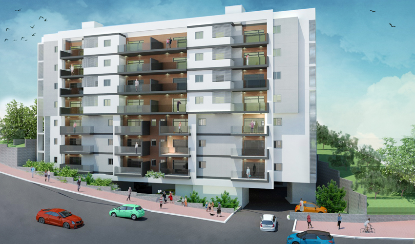 הפרויקט ברחוב אינטרנציונל 56-54 בחיפה (הדמיה: אדר' אורי בלייכר)