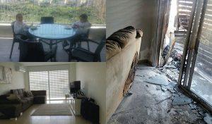 ביתה של ילנה ויינשטיין לאחר השריפה והיום לאחר השיפוץ