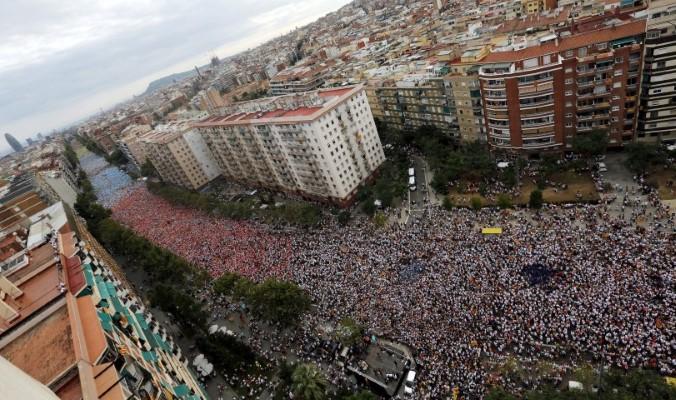 הפגנה בברצלונה (צילום: רויטרס)