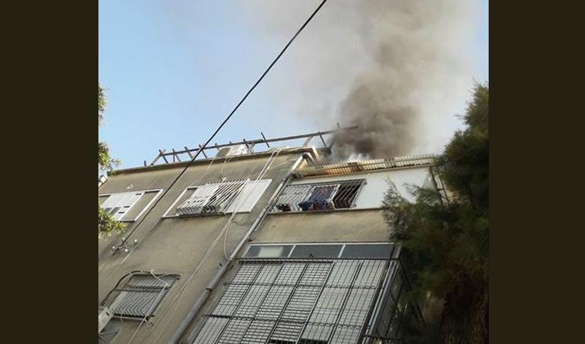 השריפה ברחוב מיכאל (צילום: דוברות שירותי הכבאות במחוז חוף)