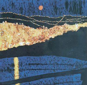הדר הכרמל בלילה (ציור: אליס ארבל, לפי הצילומים הליליים של אבי ברנע)