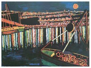 נמל חיפה בלילה (ציור: אליס ארבל, לפי הצילומים הליליים של אבי ברנע)