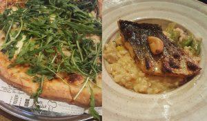 דג ים על ריזוטו ופיצה סיציליאנית