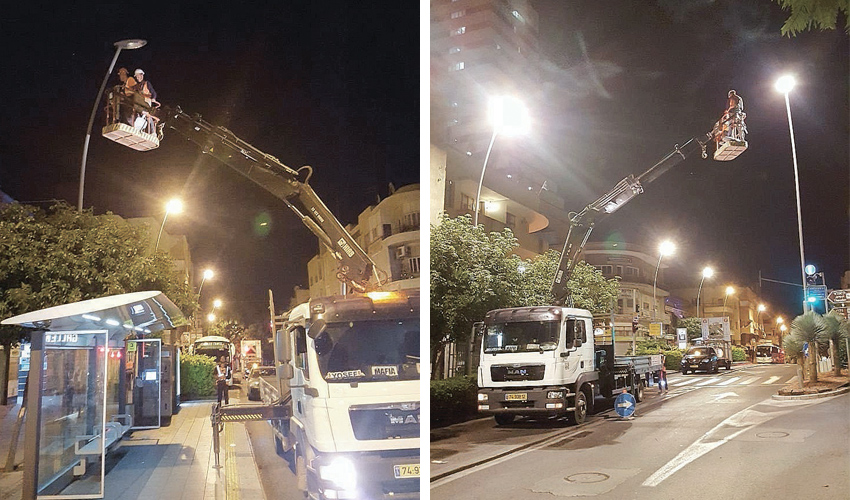החלפת התאורה ברחוב הרצל (צילום: חברת יפה נוף)
