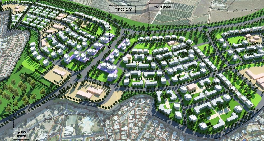 תוכנית הבנייה לשכונה החדשה בדרום קרית אתא (הדמיה: האדריכל מאיר בוכמן והאדריכלית איילת הוקמן)