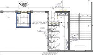 """תאי השירותים בקומה הראשונה של בית הספר רמב""""ם אחרי התכנון (שרטוט: אדריכל אופיר זאבי)"""