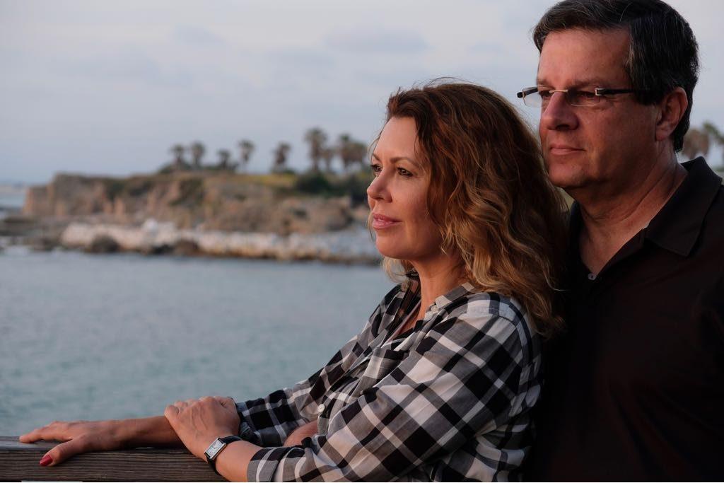 """יובל רבין ונטלי אהרון. מה שבטוח זה שנחגוג בחיפה"""" (צילום: שחר עזרן)"""