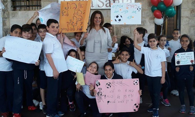 תלמידי בית הספר האיטלקי - נזירות כרמלית ביום השפה העברית