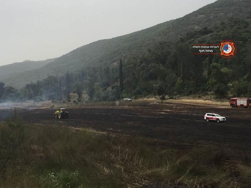 השריפה ליד נשר (צילום: דוברות שירותי הכיבוי במחוז חוף)