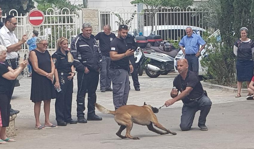 """יחידת הכלבנים ביום קהילה ומשטרה בבית הספר רמב""""ם (צילום: דוברות מחוז חוף של המשטרה)"""