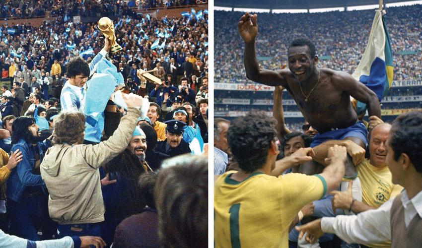 נבחרת ברזיל חוגגת את הזכייה במונדיאל 1970, נבחרת ארגנטינה חוגגת את הזכייה במונדיאל 1978 (צילומים: Carlo Fumagalli, WCSCC AP, AP)