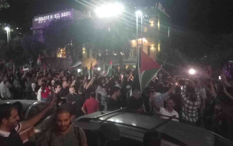 הפגנת חראכ חיפה בשדרות בן גוריון (צילום: אלה אהרונוב)