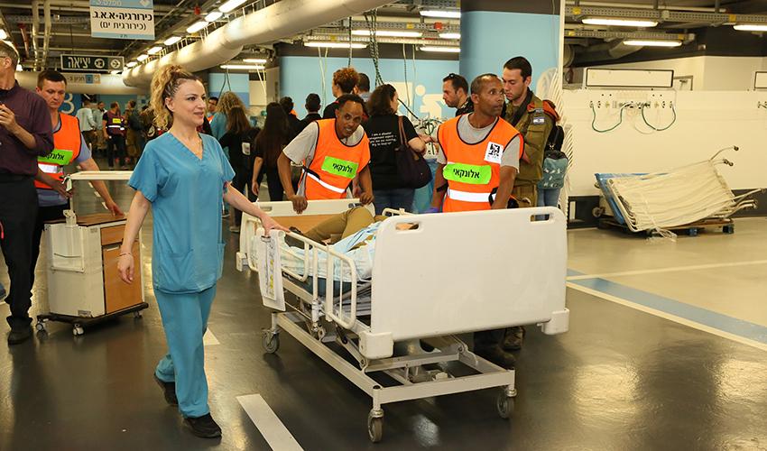 """תרגיל החירום בקריה הרפואית רמב""""ם (צילום: פיוטר פליטר)"""