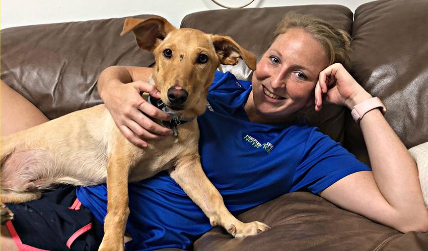 """אילנה קרטיש והכלב. """"כלב אבוד חמוד כזה"""""""