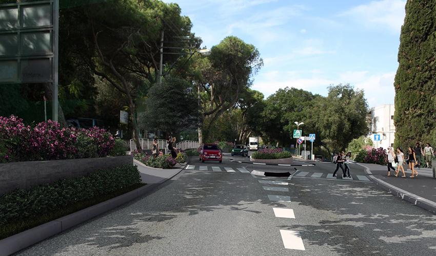 מעגל התנועה המתוכנן במפגש הרחובות דרך הים ושושנת הכרמל (הדמיה: חברת יפה נוף)