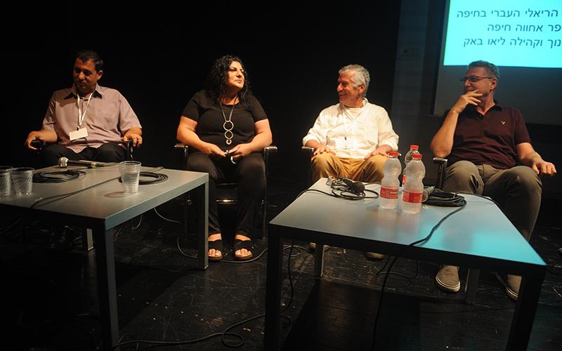 """מימין לשמאל: ברור יעקובי, ד""""ר יוסי בן דב, מרי סאעדי ח'יל, הרב אופק מאיר (צילום: רמי שלוש)"""