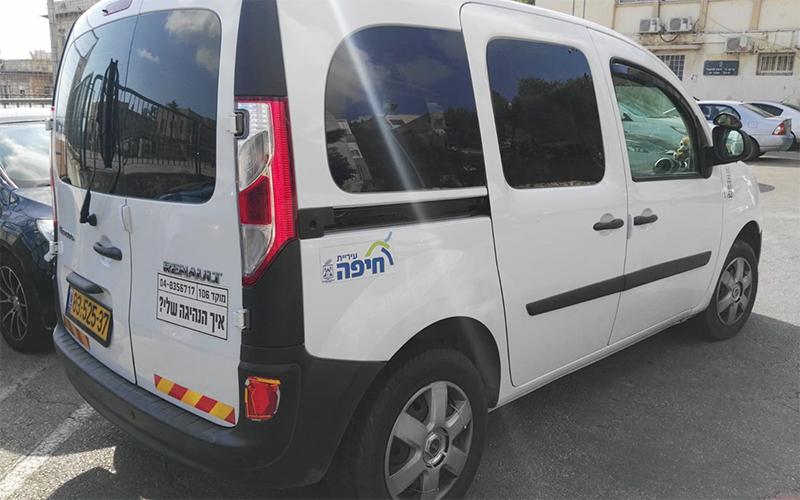 רכב שמשתתף בניסוי (צילום: דוברות עיריית חיפה)
