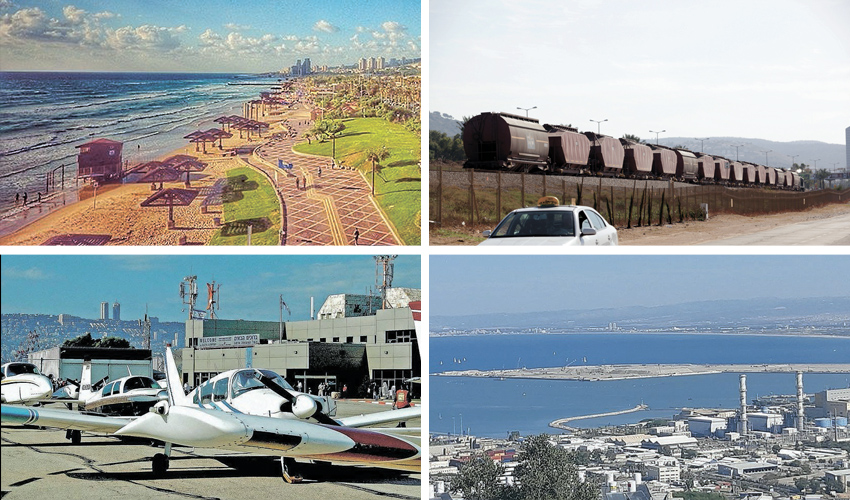 רכבת משא בחיפה, החופים הדרומיים של העיר, נמל המפרץ, שדה התעופה (צילומים: ירון קמינסקי, דוברות עיריית חיפה, צבי רוגר)