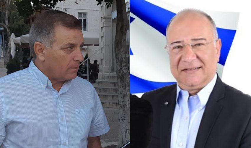 אבי ג'מאל ושמשון עידו. המלחמות לא נעצרו לאחר הבחירות לעירייה (צילום: ארז שטיינר)