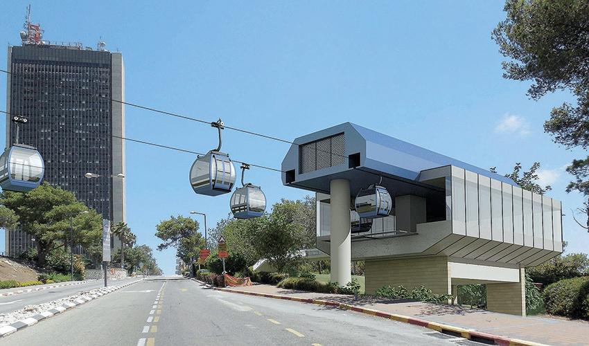 תחנת הרכבלית באוניברסיטת חיפה (הדמיה: חברת יפה נוף)