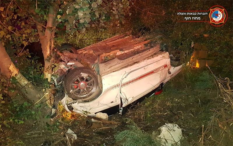זירת התאונה באזור צומת יגור (צילום: דוברות כבאות והצלה במחוז חוף)