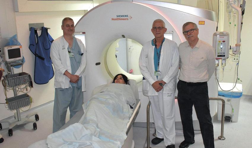 מכשיר ה-CT החדש של המרכז הרפואי כרמל (צילום: אלי דדון)