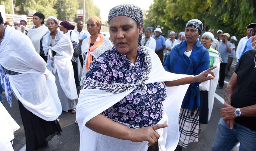 הפגנה בעקבות הריגתו של סלומון טקה בקרית חיים (צילום: רמי שלוש)