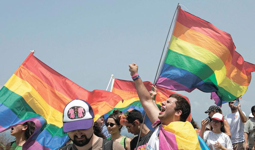 מפגינים נושאים דגלי גאווה (צילום: תומר אפלבאום)