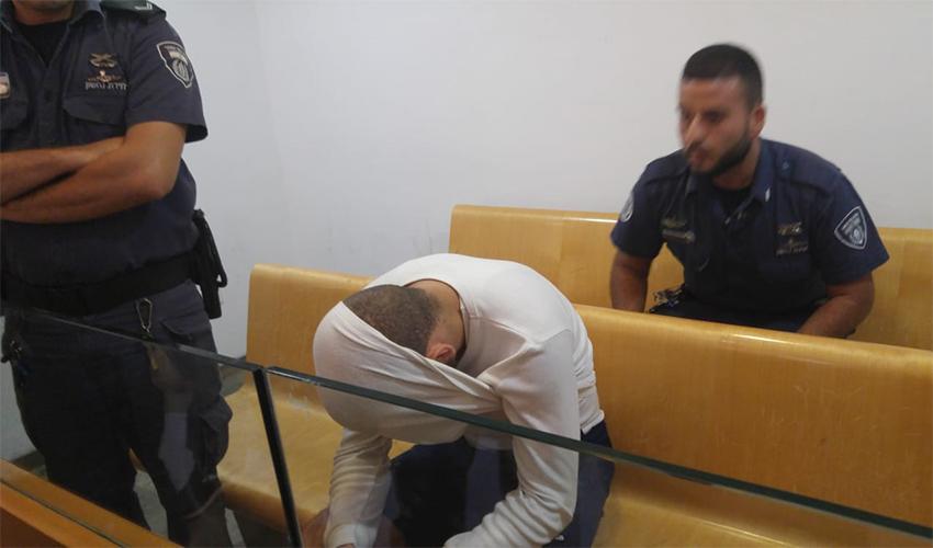 מוחמד חטיב בדיון בהארכת מעצרו (צילום: אלה אהרונוב)
