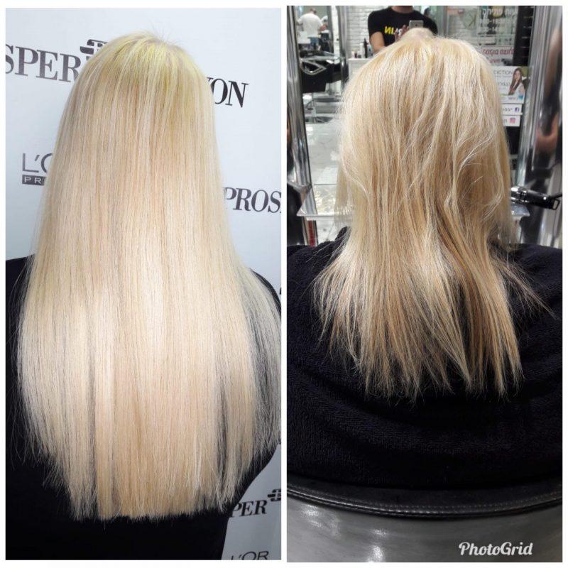 לפני ואחרי - דוגמה להארכת שיער באמצעות תוספות. צילום עצמי